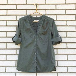 LOFT Olive Green Button Up Mandarin Collar Shirt